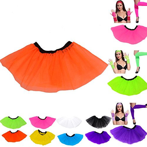 1980s Women Ladies Neon Tutu Skirt Set Fancy Dress