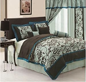 7pc Queen Faux Silk and Flocking Printing Aqua Blue Teal Brown Patchwork Comforter Set Bedding-in-a-bag