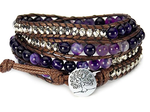 Tree of Life Bracelet Purple Agate Beaded Wrap (Hippie Tattoo Designs)