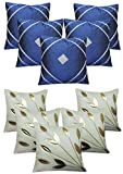 "Royalina Blue and White Contemporary Dupioni Cushion Covers-Buy 5 Get 5 Free-16""X16"""