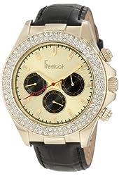 Freelook Women's HA6306G-3 Black Leather Band Matt Gold Chronograph Dial Swarovski Bezel Watch