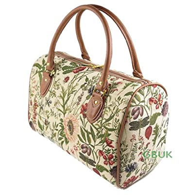 Tapestry Weekend Holdall/Hand Luggage/Travel Cabin Bag (medium) Wild Flowers - Gobelin Style