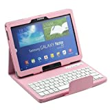ETopxizu Removable Detachable ABS Plastic Wireless Bluetooth 3.0 Keyboard PU Leather Stand Case Cover Auto-Sleep/Wake for Samsung Galaxy 2014 Edition Note 10.1 P600 Tablet Pink
