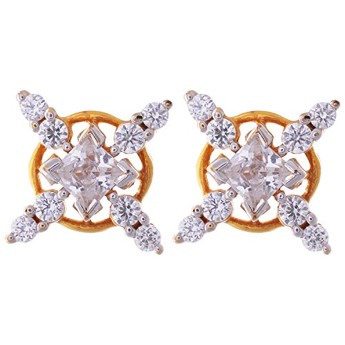 Indrasudha Jewellers 24 Ct Gold Plated CZ Stone Earrings for Women