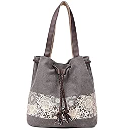Lecxci Canvas Over The Shoulder Beach Totes Handbag with Beautiful Drawings for Women Teens Girls (Grey)