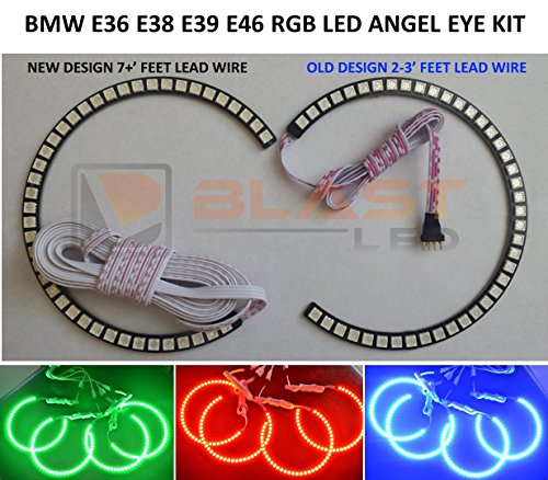 168 Smd Rgb Bmw Led Angel Eyes Halo Kit Multi-Color For 3,5,7 Series E36 E38 E39 E46 M3