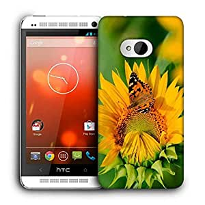 Snoogg Butterfly In Yellow Flower Printed Protective Phone Back Case Cover For HTC One M7