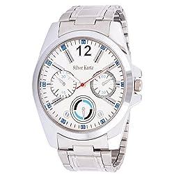 Silver Kartz Analog Mens Watch (Silver, White_WTM-026)