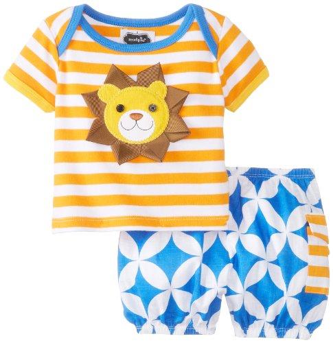 Mud Pie Baby-Boys Newborn Lion 2 Piece Set, Orange/Blue, 6-9 Months front-1058669