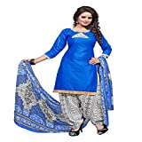 ZHot Fashion Women's Printed Unstitched Salwar Suit Material In Cotton Fabric (ZHSN1012) Blue