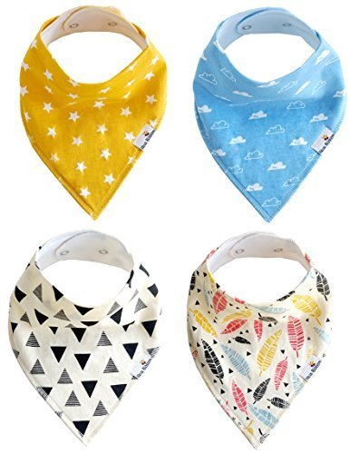 baby-bandana-drool-bibs-unisex-4-pack-super-absorbent-cotton-with-snaps-cute-gift-set-for-boys-girls