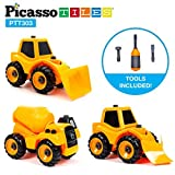 PicassoTiles 3-in-1 Combo DIY Take-A-Part Construction Truck Toys Car Set Bulldozer, Cement Concrete Mixer, and Front Loader Dismantling Toy Building Kit with Child-Size Safe Large Parts PTT303
