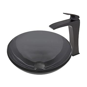 VIGO Sheer Black Glass Vessel Bathroom Sink and Blackstonian Vessel Faucet with Pop Up, Matte Black