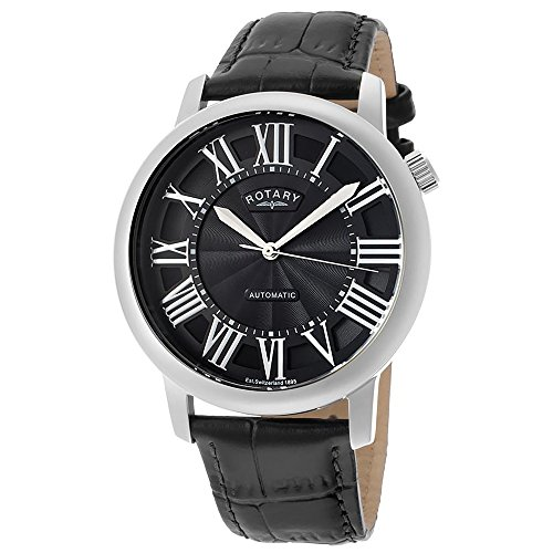 Rotary Limited Edition Men's Automatic Watch with Black Dial Analogue Display and Black Leather Strap GLE000010 10