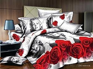 Lt Queen Size 3d Marilyn Monroe Gray Red Rose Bedding Sets Duvet Cover Sets Bed Linens (Queen, 1 Duvet Cover+1 Flat Sheet +2 Pillowcases)