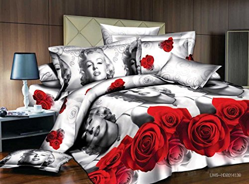 Lt Queen Size 3d Marilyn Monroe Gray Red Rose Bedding Sets Duvet Cover Sets Bed Linens (Queen, 1 Duvet Cover+1 Flat Sheet +2 Pillowcases)