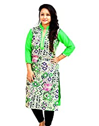 Aarti Collections Women's Cotton Kurti (AC-861C_Green Black Yellow_Small)