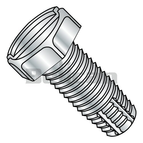Slotted Drive Green Zinc Plated Steel Thread Cutting Screw Pack of 100 3//8 Length #10-24 Thread Size Hex Washer Head Type F