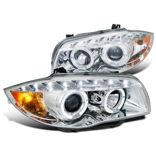 Bmw E87 1-Series Dual Halo Led Chrome Projector Headlights