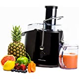 Andrew James Professional Whole Fruit Power Juicer In Piano Black, Includes 2 Year Warranty, Juice Jug And Cleaning Brush