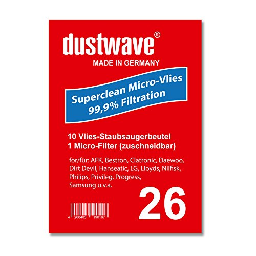 Sparpack - 10 Staubsaugerbeutel geeignet für Dirt Devil - M 7050-9 Fello & Friend Staubsauger - dustwave® Markenstaubbeutel / Made in Germany + inkl. Micro-Filter