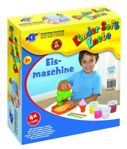 Feuchtmann 628-0580 Kinder Soft Knete EISMASCHINE 4 Dosen inkl. Eismaschine etc. im Geschenkkarton