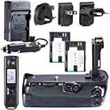 Neewer Built-in 2.4G Wireless Remote Control Battery Grip Replacement for BG-E16 + 2 PCS Rechargeable Replacement for LP-E6 Li-ion Battery 7.4V 1800mAh + 4 In 1 Battery Charger Kit with US/EU/UK Plug and Car Adapter + AA Battery Grip Holder + Li-ion Battery Grip Holder for Canon EOS 7D Mark II