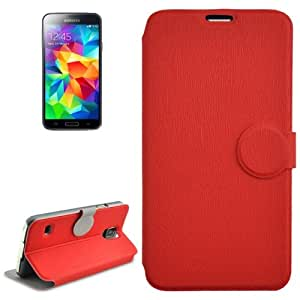 Coin Shape Magnetic Buckle Wood Texture Leather Case with Holder for Samsung Galaxy S5 / G900 (Red)