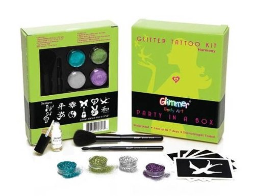 Glimmer Body Art Party In A Box Waterproof Glitter Tattoo Kit - Harmony - Peace Love front-839454