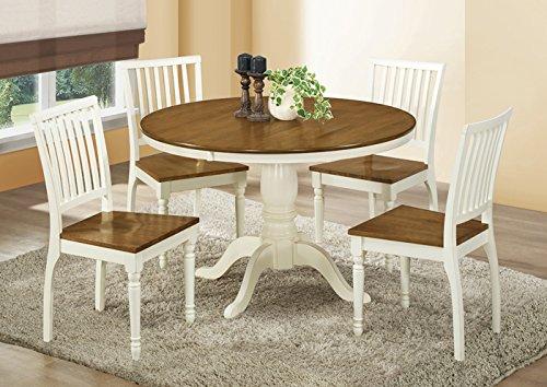 "ANTIQUE WHITE / OAK VENEER 48""DIA DINING TABLE (SIZE: 48L X 48W X 30H)"