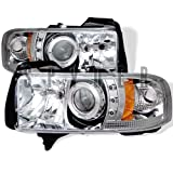 Dodge Ram 1994 1995 1996 1997 1998 1999 2000 2001 1PC Halo LED Projector Headlights - Chrome