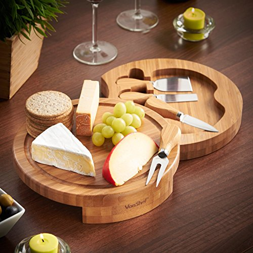 Tuk789 VIP Round Slide Out Bamboo Cheese Board and 4 Piece Knife Set (Bamboo Leaf Cheese Board compare prices)