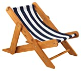 Outdoor Sling Chair w/ navy stripe fabric