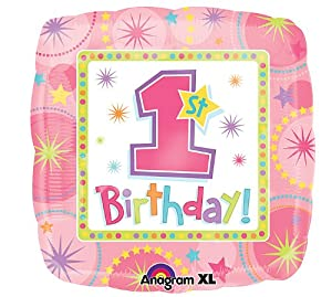 "Girl 1ST BIRTHDAY Pink Green Large 18"" SQUARE Mylar Foil Balloon"