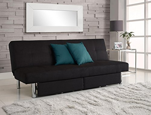 DHP Sola Convertible Sofa Futon w/ Space Saving Storage Compartments, Chrome Legs and Upholstered in Rich Black Microfiber (Futon Sofa Bed Full Size compare prices)