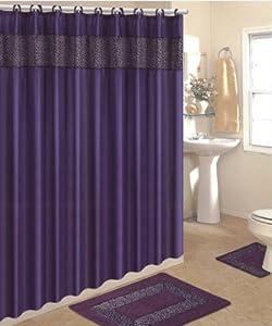 Amazon Com 4 Piece Bath Rug Set 3 Piece Purple Leopard