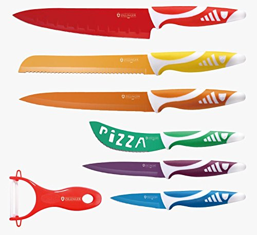 Zillinger Zl-721 7 Piece Stainless Steel Rainbow Knife Set