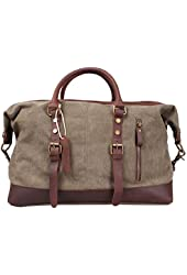 Iblue Oversized Leather Canvas Casual Travel Tote Luggage Duffel Handbag#831 Army Green XL