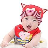Happy Cherry Infantil Gorro de Dormir con Babero Triangular de Algod�n para Reci�n Nacidos Beb� Ni�o Ni�a - Dise�o de Gatito - Color Rojo