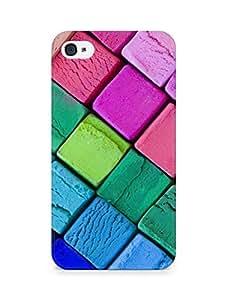 AMEZ designer printed 3d premium high quality back case cover for Apple iPhone 4 (colour wooden blocks)