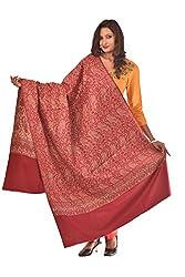 Weavers Villa - Women's Maroon Jamdani Designer Shawls ,Stoles