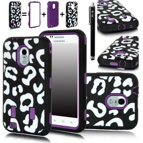E Lv Stylish Design Hard Soft High Impact Hybrid Armor Defender Case Combo For Samsung Galaxy S2 Epic 4G Touch D710 (Sprint, Us Cellular, Boost Mobile), Black Stylus And Microfiber Digital Cleaner - Leopard Purple