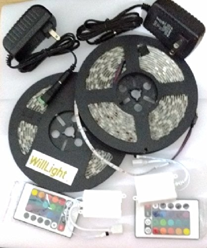 2 Sets* 16.4Ft 5050 Waterproof 300Leds Rgb Flexible Led Strip Light Lamp Kit + 24Key Ir Remote Controller + 12V5A Power Supply