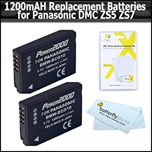 2 Pack of Panasonic DMW-BCG10 Replacement Batteries 1200MAH Each For Panasonic Lumix DMC-ZS5 DMC-ZS7 DMC-ZS1, DMC-TZ7S, DMC-TZ7T, DMC-ZS3, DMC-ZS25, DMC-ZS1S, DMC-ZS3, DMC-ZS3A, DMC-ZS3K, DMC-ZS20, DMC-ZS6, DMC-ZS10, DMC-ZS8, DMW BCG10E, DMW BCG10P + More