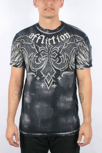 Affliction - Mens Cast Iron T-Shirt In Lt.Char/Blk Brush Wash, Size: X-Large, Color: Lt.Char/Blk Brush Wash