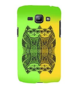 PrintVisa Birds Modern Art Owl 3D Hard Polycarbonate Designer Back Case Cover for Samsung Galaxy J1 (2016 Edition)