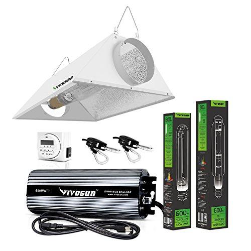 VIVOSUN Hydroponic 600 Watt HPS MH Grow Light Bulb Digital Dimmable Ballast Air Cooled Hood Reflector Kit (8 Air Cooled Reflector Hood compare prices)