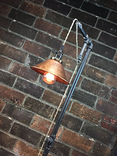 Industrial Style Floor Lamp - Pendant Edison Bulb - Copper Shade 1