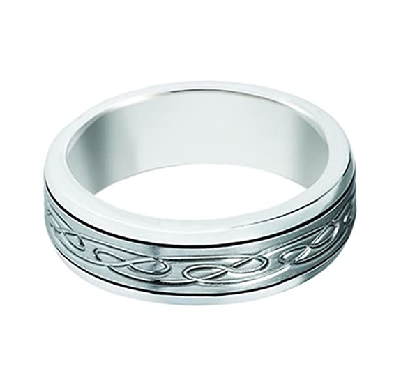 Sterling Silver, Celtic Twist 7MM Engraved Band (sz H to Z3)