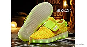 Unisex Kids LED Light Up Slip-On Sports Shoes Sneakers (Size 31/Pair) - Size 31, Yellow